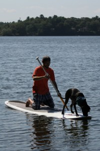 The author out for a paddle with Morton the dog