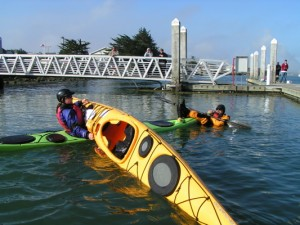 The X-Rescue is a great cold water reentry to practice with your paddling partners