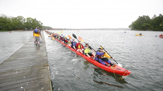 LL Bean and Point65 teamed up to build the world's longest kayak (407ft 7in)