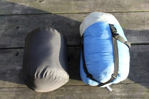 Compressed sleeping bags should be fluffed before bedtime to increase loft.