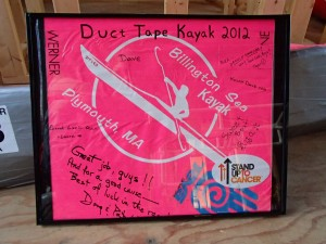Section of the 2012 Duct Tape Kayak signed by our supporters