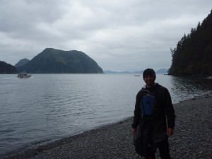 Standing on the shores of Thumb Cove in Kenai Fijords National Park