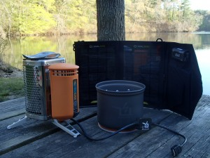 The test subjects: Biolite Campstove, Power Pot V, Nomad 7 solar panel