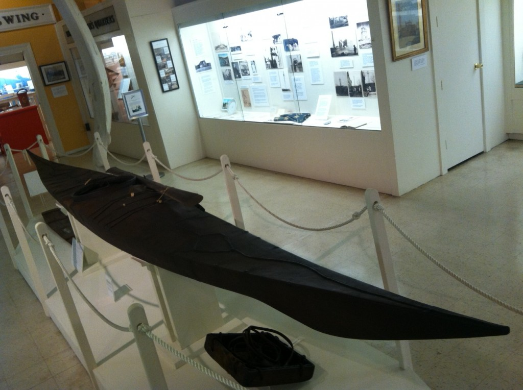 The MacMillan Kayak, on display at the Pilgrim Monument & Provincetown Museum in Provincetown, Mass.