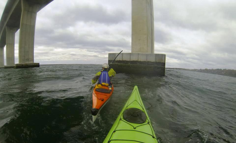 Paddling under the Jamestown Verazzano Bridge