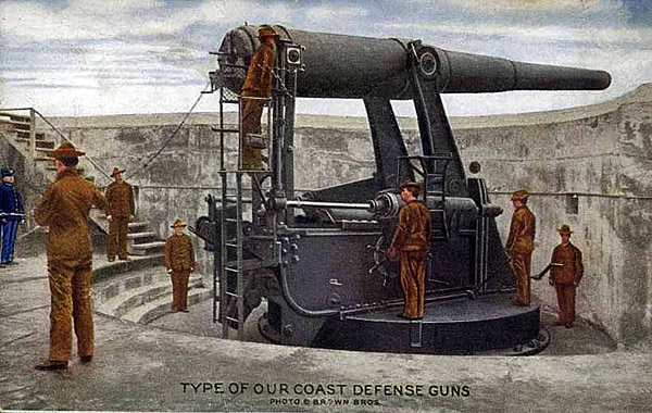 This 'disappearing' gun is similar to the type used for the harbor defenses of Narragansett Bay found on Dutch Island.